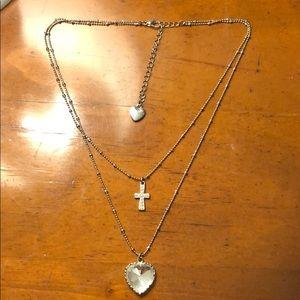 Betsey Johnson Silver Heart & Cross Necklace